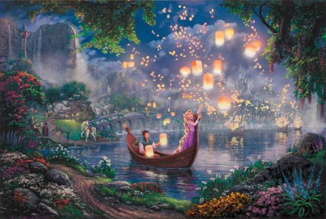 Tinkerbell And Peter Pan Fly To Neverland Thomas Kinkade Oil Paintings Art Print On Canvas No