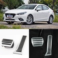 Brand New 2pcs Aluminium Non Slip Foot Rest Fuel Gas Brake Pedal Cover For Mazda 3 Axela AT 2014-2016