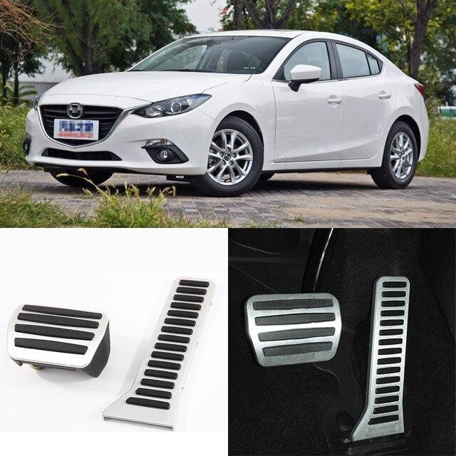 Brand New 2pcs Aluminium Non Slip Foot Rest Fuel Gas Brake Pedal Cover For Mazda 3 Axela AT 2014-2016