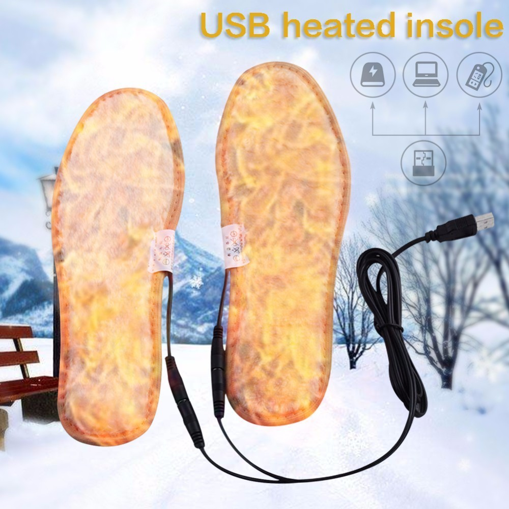 2018 Winter Plush Fur USB Heated Insoles Warmer Cushion Boot Shoe Pad Keep Feet Warm Electric Powered Insoles For Snow Boots