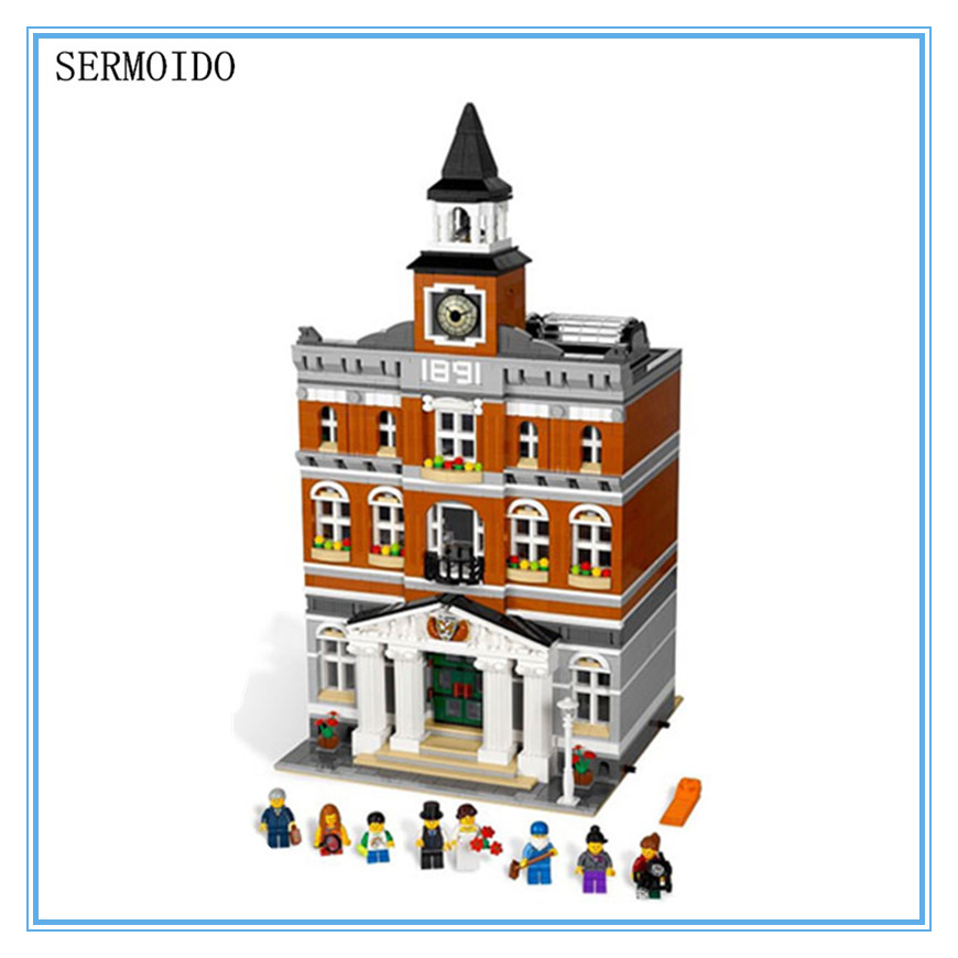 LEPIN 15003 New 2859Pcs Creators The town hall Model Building Kits Blocks Kid Toy Gift Compatible With 10224 B213 lepin 16014 1230pcs space shuttle expedition model building kits set blocks bricks compatible with lego gift kid children toy