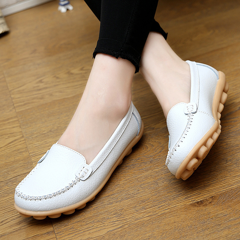 Designer Women Casual Shoes Split Leather Summer Flats  Non-slip Pregnant Mother Slip On Loafers Chaussure Femme designer women ballet flats slip on summer casual flat shoes split leather loafers comfortable moccasins round toe chaussure