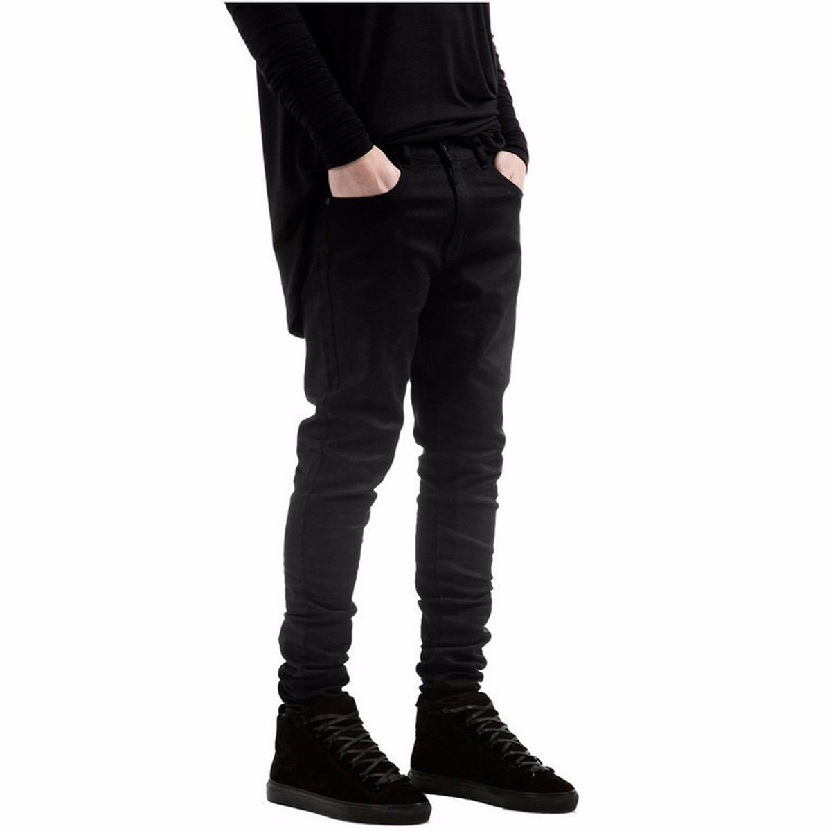 Black men Denim jeans Skinny jeans All black Slim Fit straight