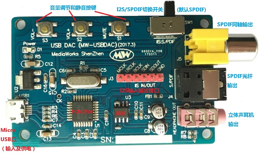 USB DAC/USB Sound Card/USB To I2S & SPDIF (PCM2706)