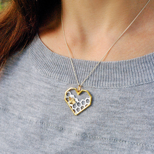 Image 4 - Lotus Fun Real 925 Sterling Silver Fine Jewelry Honeycomb Home Guard 18K Gold Bee Love Heart Pendant without Chain for Women