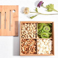 Bamboo Storage Tray Dried Fruit Plate Kitchen Living Room Wood 4 Grid Wedding Candy Box Snack Japanese Storage Bowl Jewerly Box