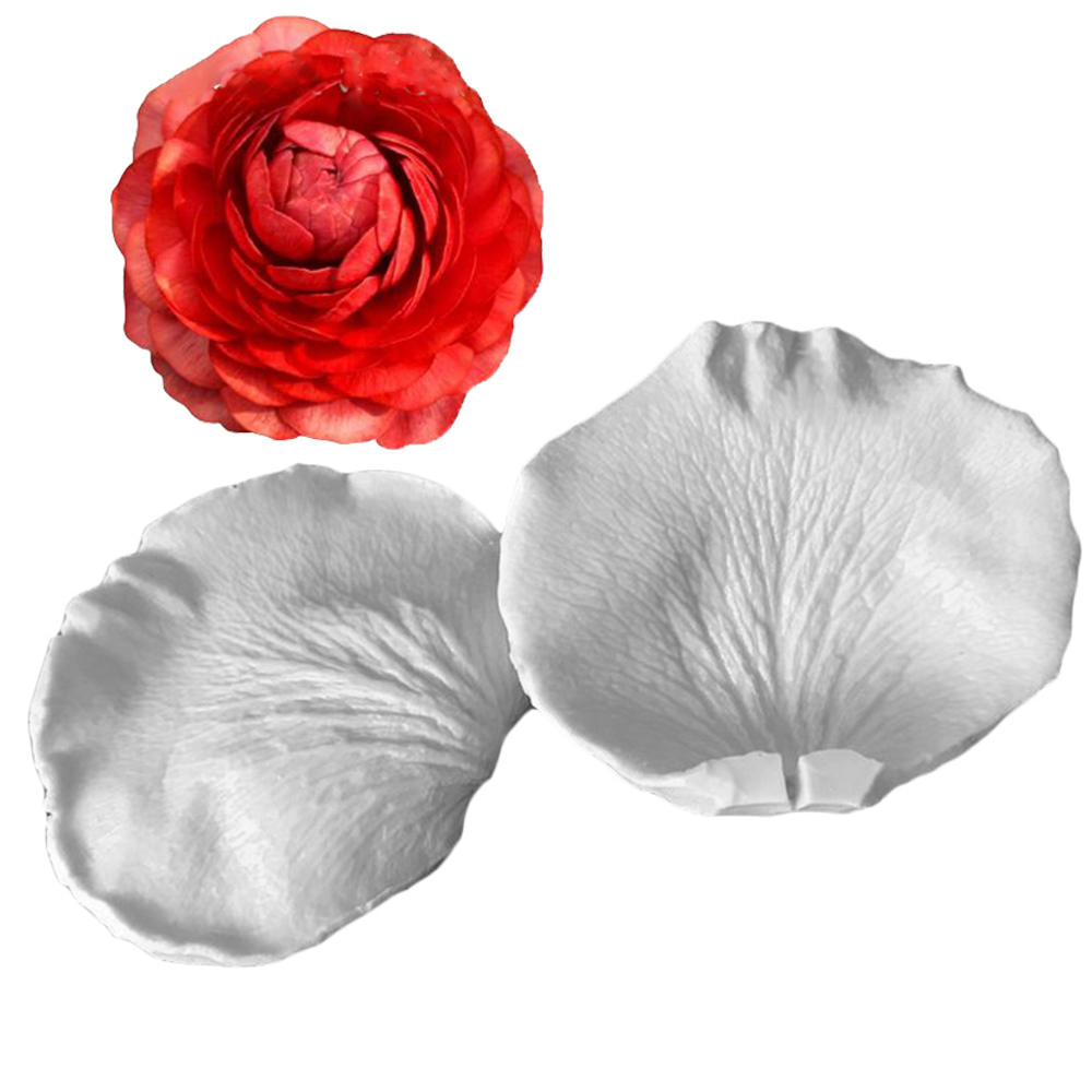 2Pcs/set Silicone Cake Flower Mold DIY Baking Candy Mould Rose Flower Fondant Paste Chocolate  Petal Mold  Decorating Tool