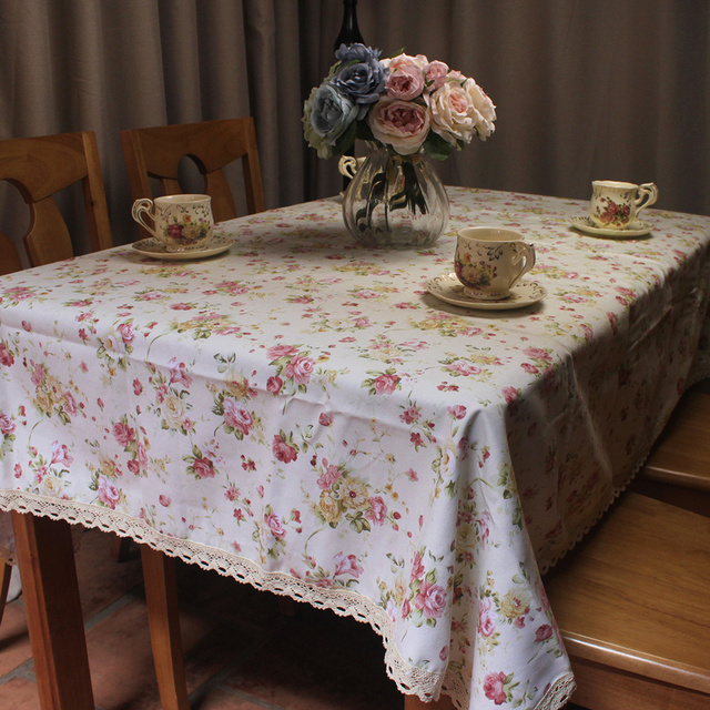 Merveilleux Pastoral Red Florets Cotton Beige Table Cloth For Dinning Table / Leisure  Country Life Lace Tablecloth