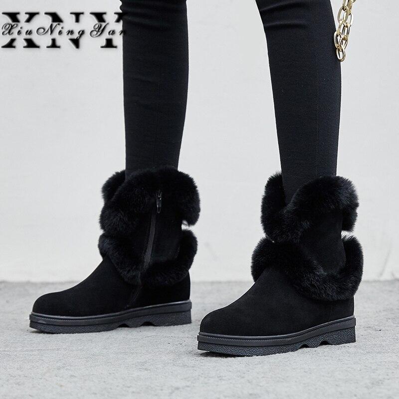 XIUNINGYAN russie bottes d'hiver femmes chaudes bottines bout rond vache daim dames mode Wedge bottes de neige chaussures bottes imperméables