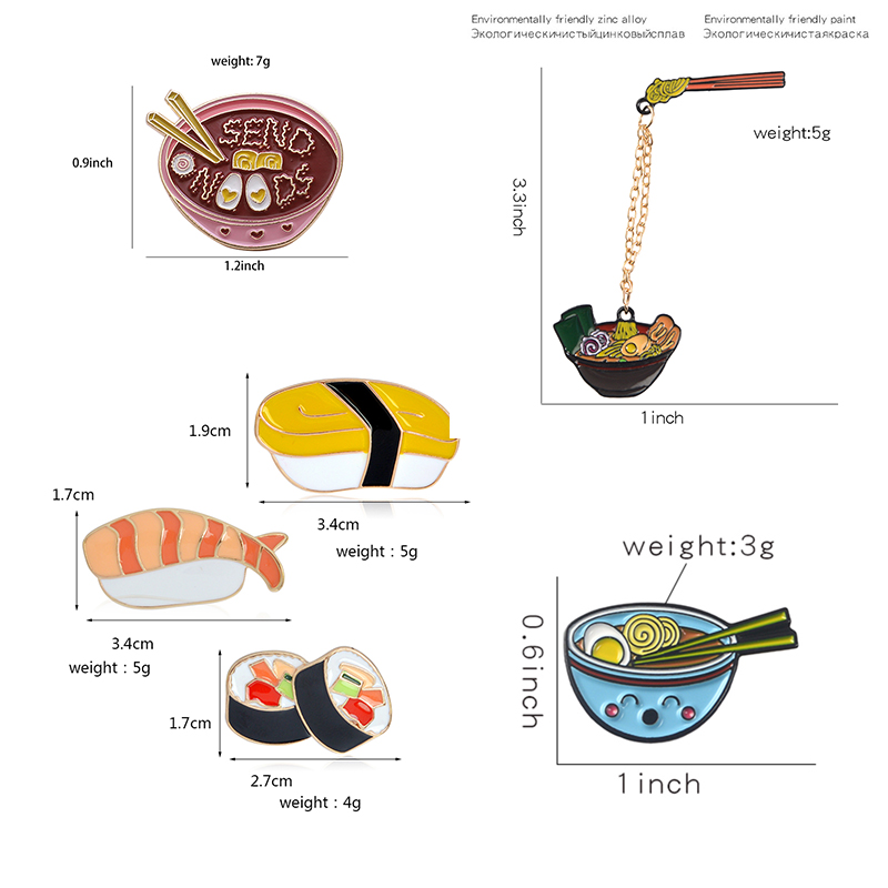 Cartoon Ramen Sushi Enamel Pins Cute Japanese Foods Tonkotsu noodles Brooches Denim Shirt Collar Lapel Pins Badge Jewelry Gifts 2