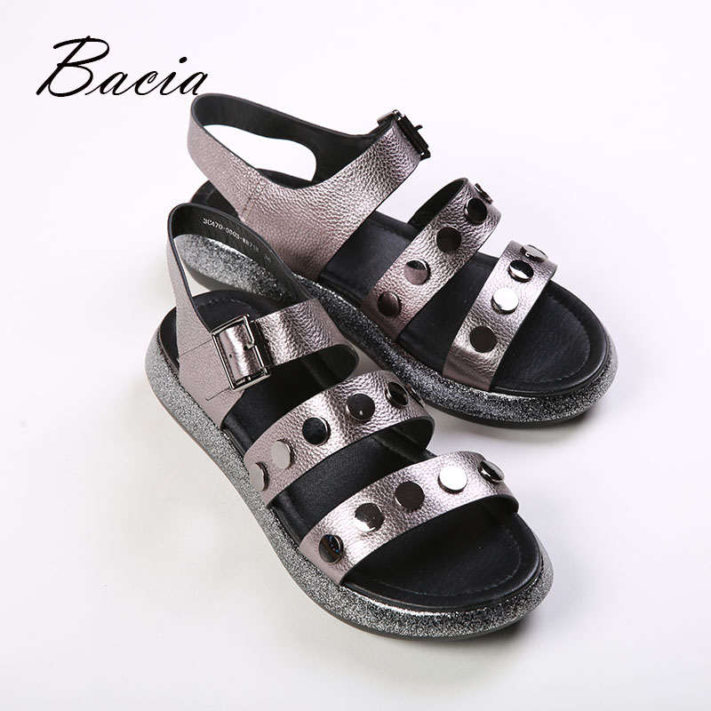 Bacia new HOT Roman platform women's sandals 2019 fashion summer leather magic stickers women's thick-soled beach sandals casual