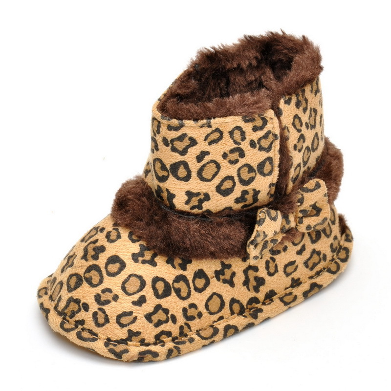 Baby shoes footwear Girls boys Kids sneaker fleece Leopard Anti-Slip Crib Shoes Soft Sole Prewalkers Footwear for 1-2years