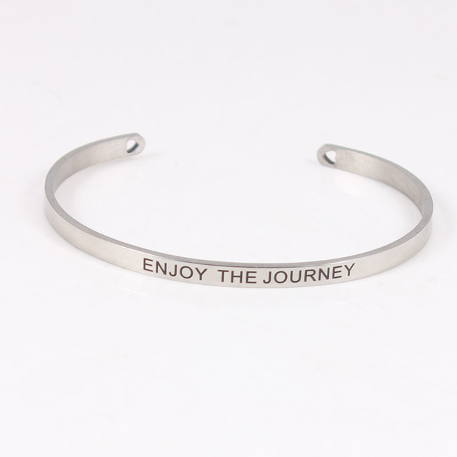 2017 Hot 316l Stainless Steel Engraved Enjoy The Journey Positive Inspirational Quote Cuff Bracelet Mantra