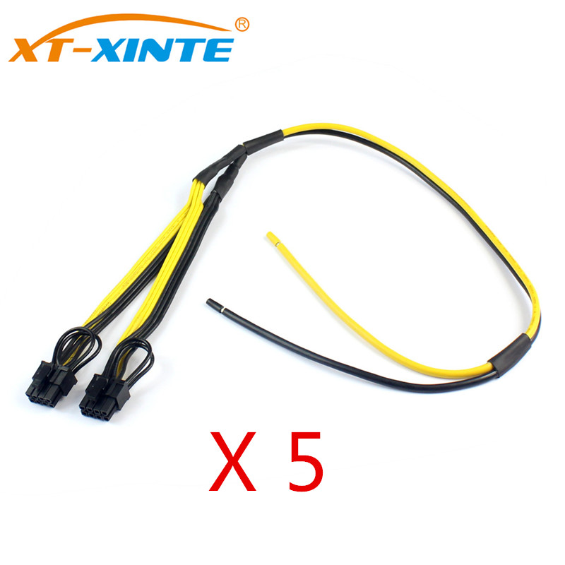 5Pcs <font><b>Dual</b></font> PCIe PCI-E Graphic Video Card <font><b>8pin</b></font> <font><b>6</b></font>+<font><b>2pin</b></font> DIY Splitter Power <font><b>Cable</b></font> Cord for Bitcoin Litecoin RIG Miner 12AWG+18AWG image