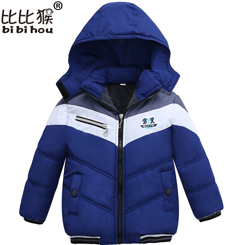 Bibihou Coat 2017 New Kids Baby Outerwear Thick Warm Children's Down Jacket Brand Children Long Sleeve Hooded Jackets For Boys