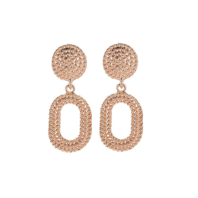 2018 Hot Sale 100% Alloy Vintage Earrings Long Water Drop Earrings Exaggerated Oval Earrings With Floral Pattern Qw-875
