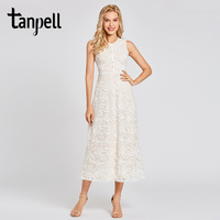 Tanpell lace long evening dress white sleeveless ankle length a line dresses women homecoming party prom formal evening gown