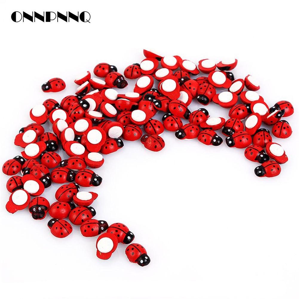 100Pcs/pack Wooden Ladybird Ladybug Sticker Children Kids Painted Adhesive Back
