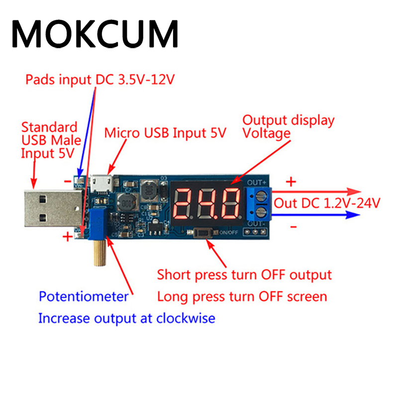 <font><b>DC</b></font> <font><b>5V</b></font> to 3.3V 12V Power <font><b>Adapter</b></font> USB Step UP Down Power Supply Module Adjustable Boost Buck Converter USB boost power supply modu image