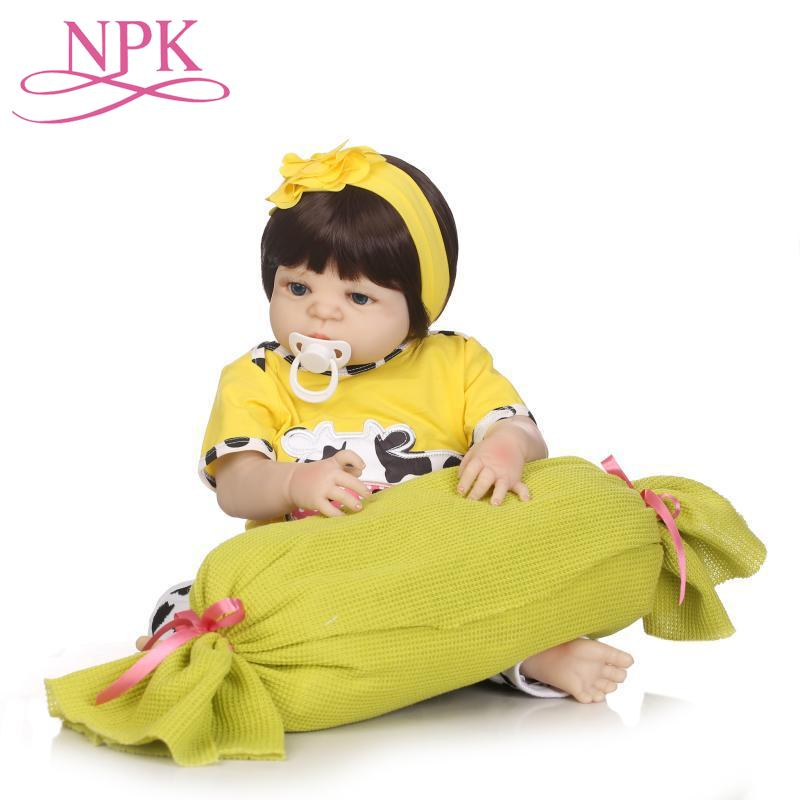 NPK Bebes Reborn 23full Body Silicone Reborn Baby Girl Dolls For Child Gift Cute Yellow Cow Clothing Alive Baby Dolls jooyooNPK Bebes Reborn 23full Body Silicone Reborn Baby Girl Dolls For Child Gift Cute Yellow Cow Clothing Alive Baby Dolls jooyoo