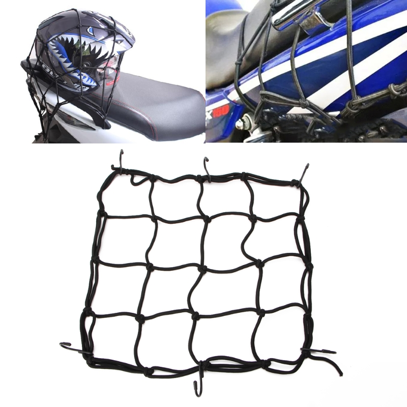 R Motorbike Motorcycle Cargo 6 Hooks Hold Down Web Net Bungee Storage Carrier Red SODIAL
