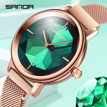 2019 new SANDA rose gold Women Watches luxury brand mesh watch waterproof timepiece Relogio Feminino