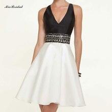 Short prom kleid einer linie cp-3 schwarz-weiß-perlen taille sexy v-ausschnitt schlüsselloch zurück satin