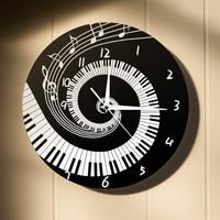 Silent Black and White Creative Wall Clock Modern Design Round Music Keyboard Digital Wall Clock Music Lover Pianist Gift 40C163