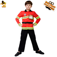 DESPLAY New Style Boys Child Fireman Costume Firefighter Boys Cool Fancy Suit Cosplay for Carnival Party Costumes