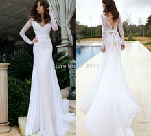 Long Sleeves V Neck Trumpet Mermaid Wedding Dresses White Applique Beads Chiffon Bridal Gowns yk1A591