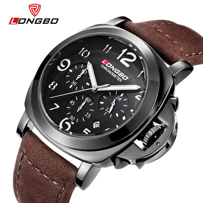 Brand LONGBO Men Watches Men s Quartz Hour Date Clock Male Leather Sports Watch Casual Military