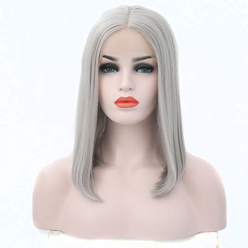 Bombshell Silver Grey Short Bob Synthetic Lace Front Wig Heat Resistant Fiber Hair Natural Hairline For White Women Wigs