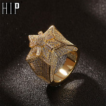 Hip Hop Popular Bling Iced Out Star Flower Copper Zircon Ring For Men Women Jewelry Gold Silver