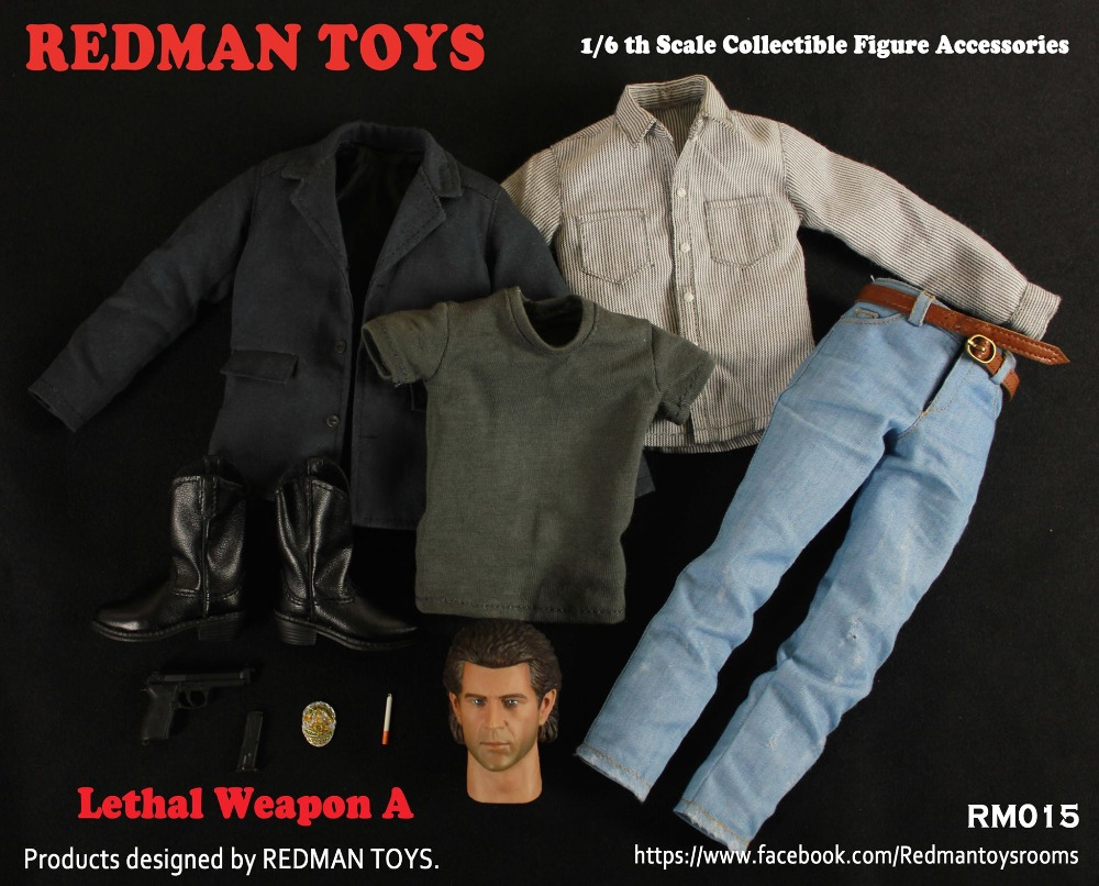 1:6 Lethal Weapon Mel Columcille Gerard Gibson Head Sculpt + Clothing set for 12