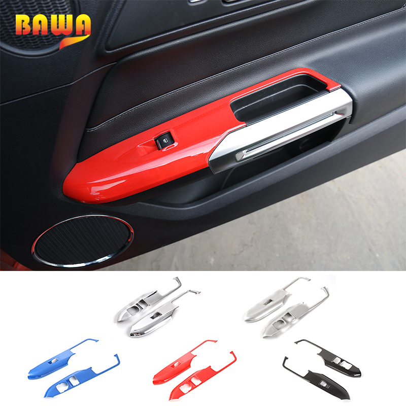 HANGUP 5 Color ABS Car Interior Window Lift Panel Decoration Cover Trim Stickers For Ford Mustang