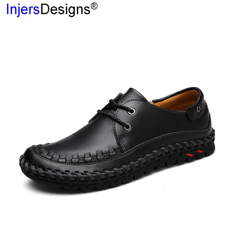 Artesanal Flats Hard Macios slip up Black Couro De Size wearing Plus Casual Não Masculino Mocassins Britânico Condução brown Lace Respirável Sapatos 607zZz