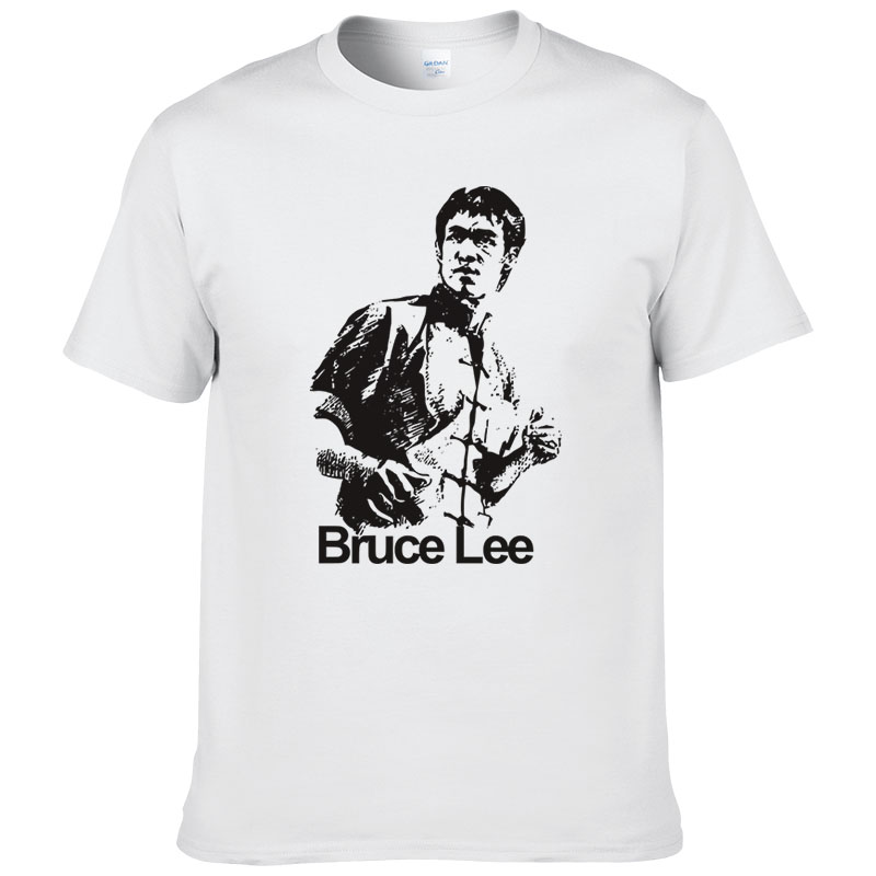 2017 New Fashion Summer Style Chinese Kung Fu Bruce Lee Printed Cotton   T     Shirt   Men High Quality Short Sleeve Casual Tshirts #163