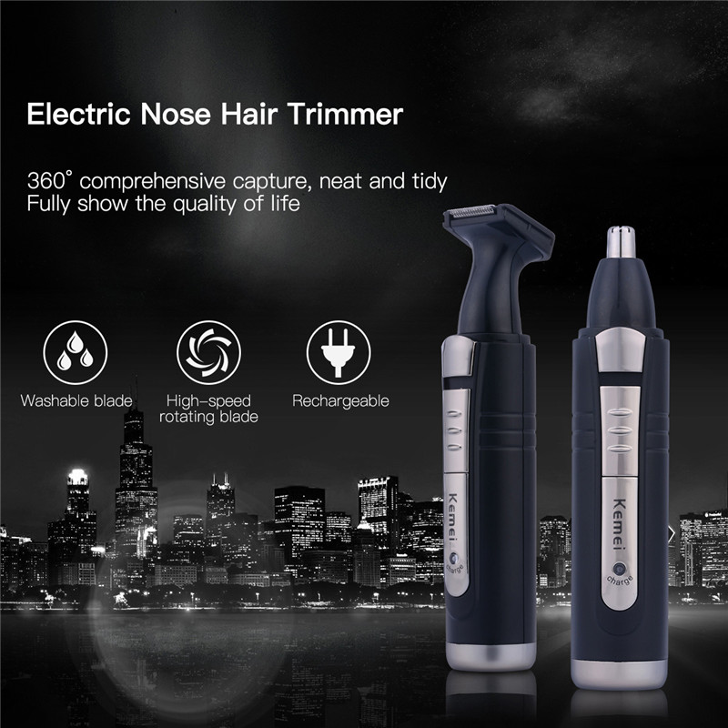 Kemei Portable Electric Nose Trimmer for Men Precision Blade Rechargeable 2 in 1 Nose & Ear Trimmer Men Beard Shaver Hair Cutter kemei 3 in 1 nose trimmer for nose