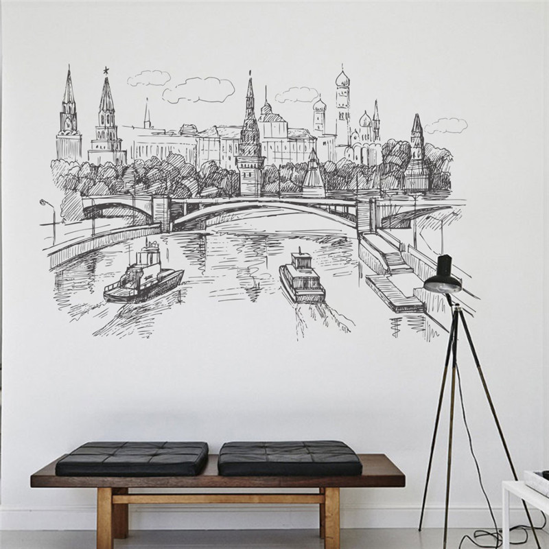 London Bridge Picture Wall Sticker Living Room Bedroom Sofa Home Decor 3D Window Wall Decals Mural Poster