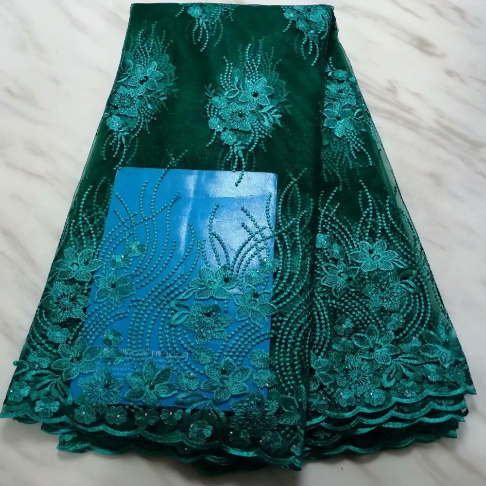 African Lace Fabric 2019 Embroidered Nigerian Laces Fabric High Quality French Tulle Lace Fabric For Green