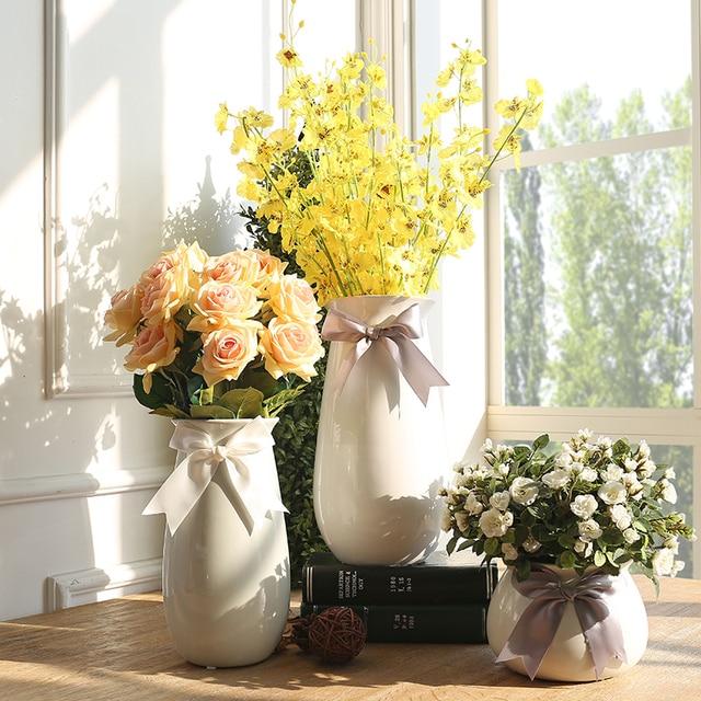 Color Blanco Porcelana Ceramica Flores Secas Jarrones Arreglo - Jarrones-con-flores-secas