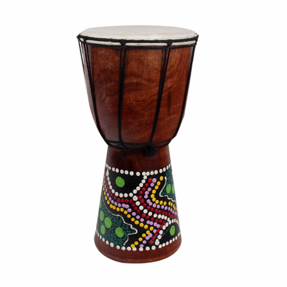 4/6 Inch African Djembe Percussion Hand Drum Mahogany Wooden Jambe Doumbek Drummer with Pattern Pure Goat Skin Surface ...