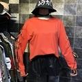 Las mujeres Atan Para Arriba Ahuecan Hacia Fuera Manga Larga Sudaderas 2017 Primavera Verano Harajuku Punky Gótica Hoodies Ocasionales Flojos Tops