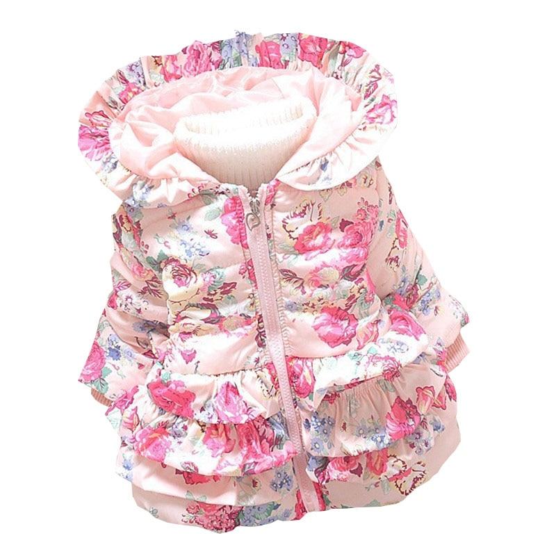 BibiCola Winter Baby Girls Warm Coats Kids Jacket Coats Children Jackets Outerwear Flowers Clothing Suit