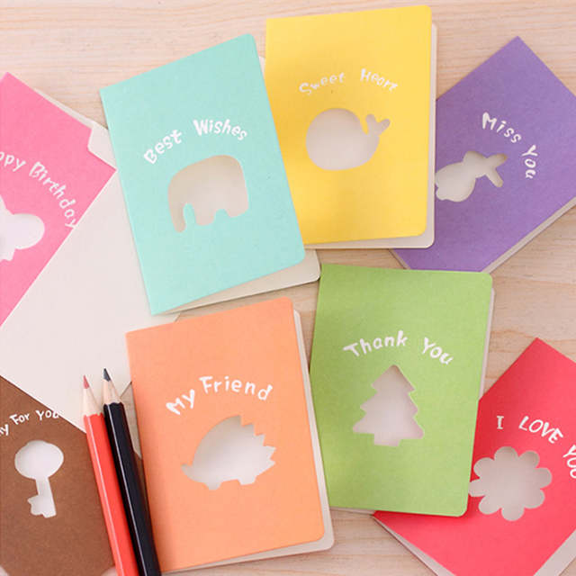 10pcs Creative Gift Cards Hollow Out Small Greeting Card Valentines Day Thanks Giving Blessing Candy