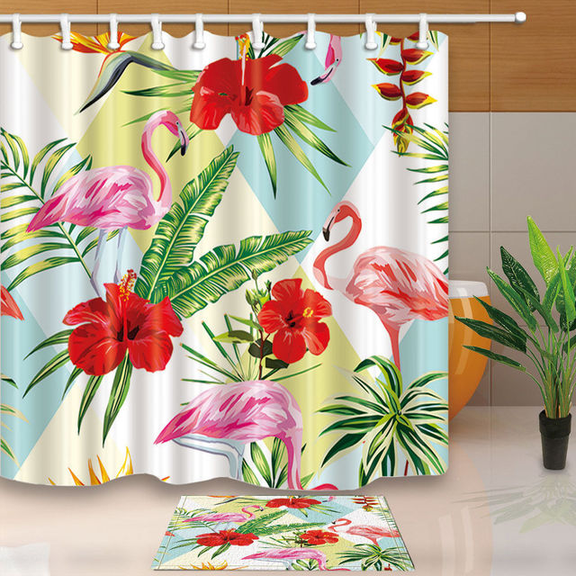 Warm Tour Palm and pink flamingo Bathroom Fabric Shower Curtain Sets ...