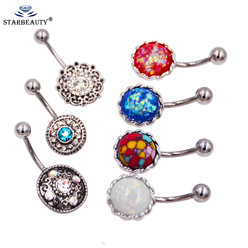 8 Style Choice Fake Opal Belly Earring Piercing Titanium Plating Piercing Belly Button Rings 14g Navel Piercing Nombril Ombligo