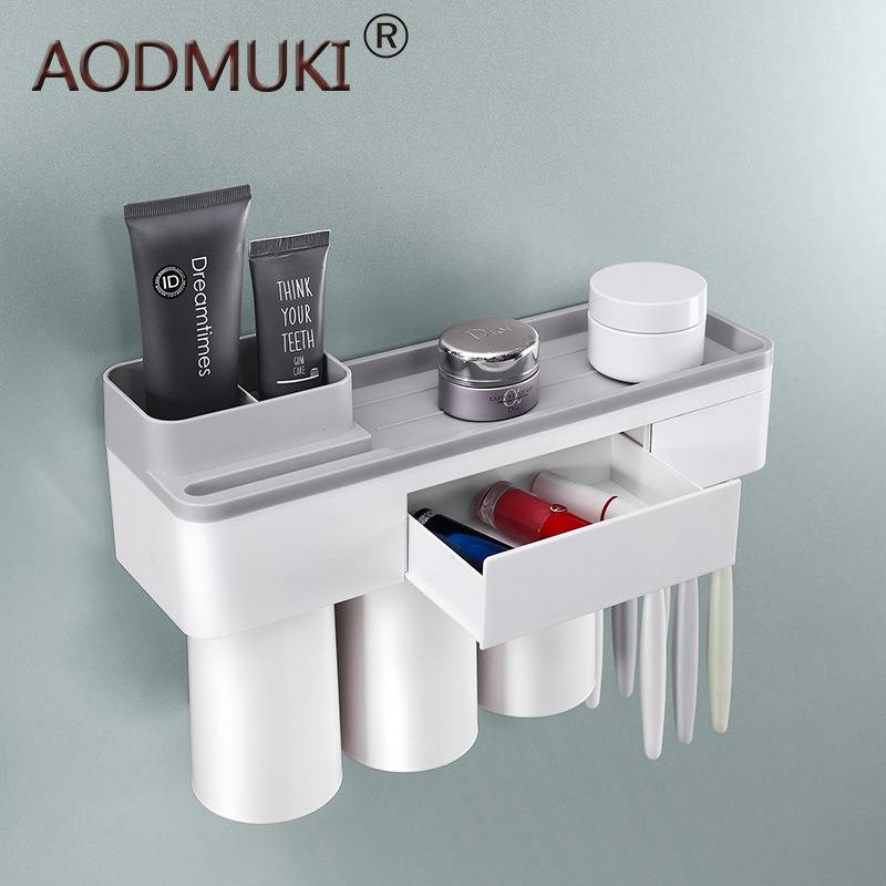 Toothbrush holder bathroom accessories toothpaste storage organizer glass for toothbrushes shelf magnetic adsorption With cup image