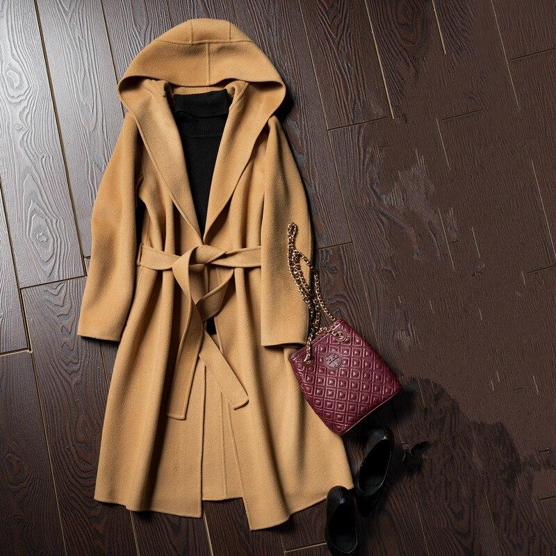 La nueva primavera y el invierno parka mujer mano Cachemira doble capa de lana larga capa caliente
