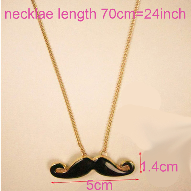 NEW Korean Fashion Necklace Length 70cm=24Inch, Mustache Black Beard Pendants Gold Color Necklace Sweater Chain  N1184